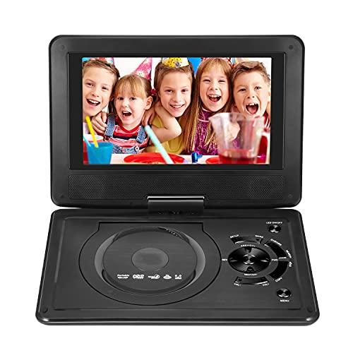 9.8 'Portátil DVD Jugador con pantalla giratoria Estéreo 3D Mini Coche CD Juego /TELEVISOR Móvil DVD Reproductor multimedia con soporte de batería recargable 8 Configuración de idioma para automóvil