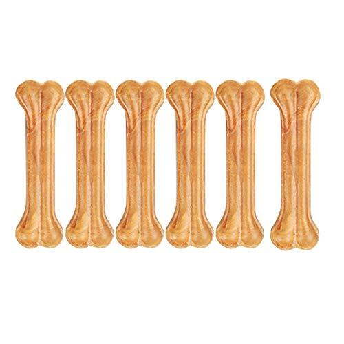 DZL- Hueso para morder de 10 cm. Hueso Prensado para Perros Paquete de 6 Huesos para Perro de Talla Mediana/Grande Vacuno Fortalecedor de Dientes (10CM-6PC)