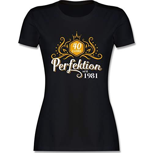 Geburtstagsgeschenk Geburtstag - 40 Jahre Perfektion 1981-40. Geburtstag - S - Schwarz - 40 Geburtstag Tshirt Frauen - L191 - Tailliertes Tshirt für Damen und Frauen T-Shirt