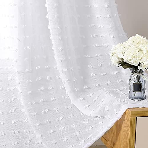 White Sheer Curtains 63 Inch Length,Grommet Pompom Semi Voile Drapes Gauze Semi Sheer Window Treatment Decor for Living Room Kids Girls Nursery Bedroom, 2 Panels