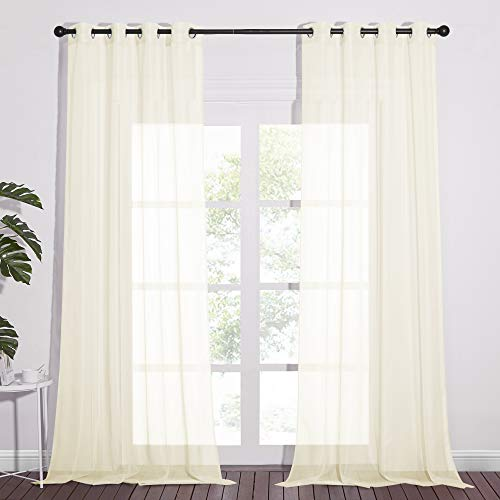 NICETOWN Sheer Curtain Panels 96 inch Cream Beige - Window Treatments Voile Panels with Eyelet Top for Living Room (One Pair, W54 x L96)