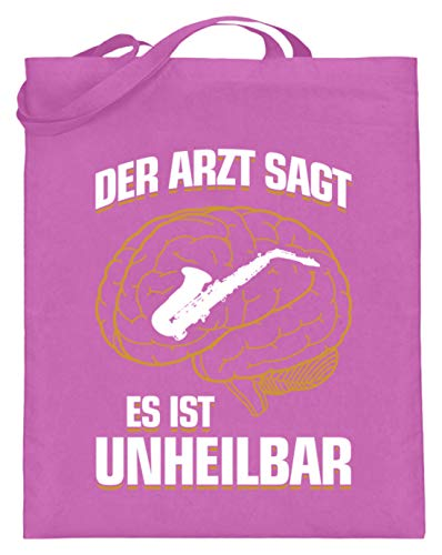 shirt-o-magic Saxophon: .es ist unheilbar - Jutebeutel (mit langen Henkeln) -38cm-42cm-Pink