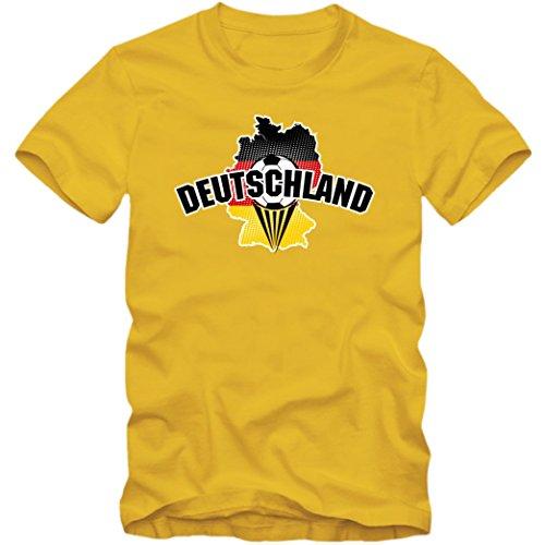 Deutschland WM 2018#1 T-Shirt   Fußball   Herren   Fanshirt   Trikot   Nationalmannschaft, Farbe:Gelb (Gold L190);Größe:XXL