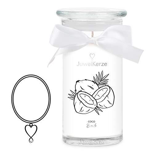 JuwelKerze 'Coco Bonito' (Halskette) Schmuckkerze große weiß Duftkerze 925 Sterling Silber, besetzt mit edlen Swarovski Kristallen - Kerze mit Schmucküberraschung als Geschenk für sie