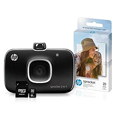 HP Sprocket 2-in-1 Portable Photo Printer & Instant Camera Bundle with 8GB MicroSD Card and Zink Photo Paper (Renewed) from hp