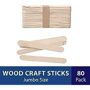 Darice Natural Wood Craft Sticks Jumbo. 80 Pieces, (5.75 Inch)