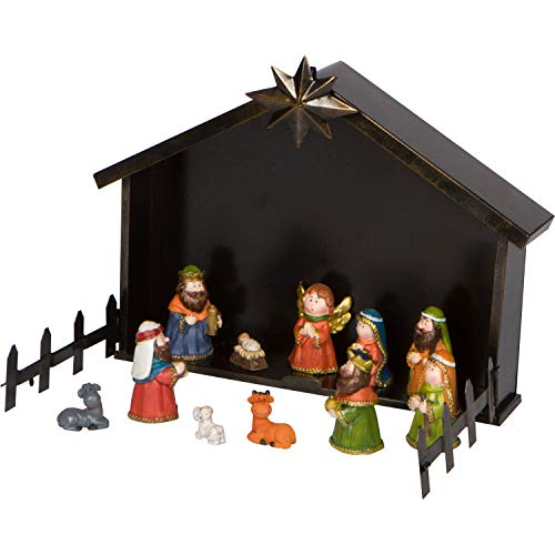 Small Kids Mini Christmas Nativity Set with Metal Creche - 11-Piece Tabletop Holiday Decoration
