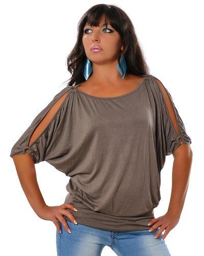 Damen Sommer Tunika Elegante Bluse 3/4-Arm DA 12643 Größe One Size Farbe Khaki