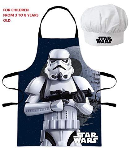 Eli Oficial Star Wars - Juego de Gorro y Delantal de Cocina para niños de 3 a 8 años
