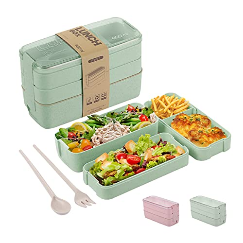 Bento Box for Adults Kids, 3-In-1 Meal Prep Container, 900ML Janpanese Lunch Box with Compartment, Wheat Straw, Leak-proof, Spoon & Fork, BPA-free (Green)