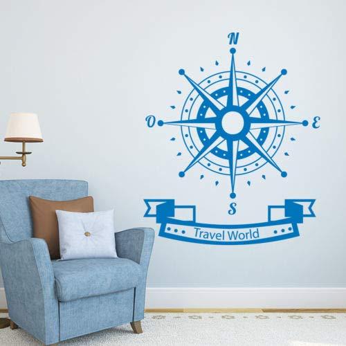 Calcomanía de pared de brújula con diseño de rosas de viento, para decoración de guardería náutica