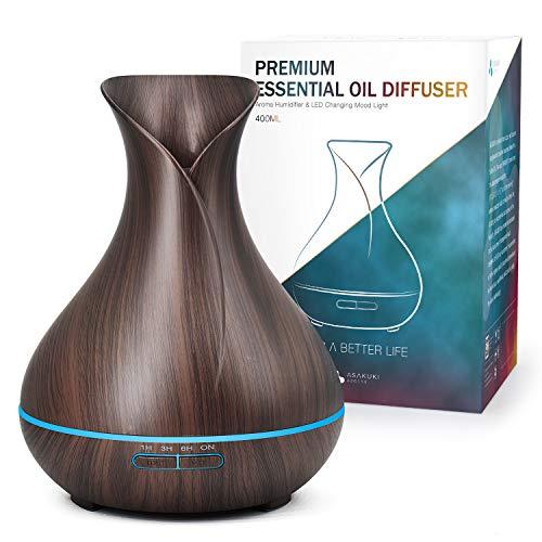 ASAKUKI Aroma Diffuser 400ml, BPA-Free Ultraschall Schwarzer Aromatherapie Diffuser für Ätherische Öle, Holzmaserung Luftbefeuchter mit Timer und 7 Arten LED Lichtfarbe