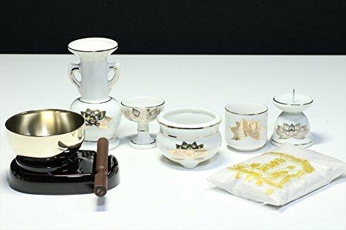 国産 仏具 セット ■ 白 金蓮 ■ 陶器 5点+香炉灰+おりん 3点 ■ モダン・ミニ仏壇に ■ お盆 お彼岸 お墓参り 供養