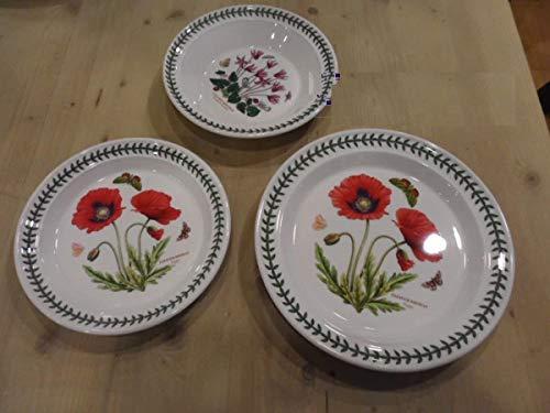 Portmeirion Service d'assiettes 18 pièces ; 6 assiettes 27 cm ; 6 assiettes creuses de 22 cm pour jardin en 6 motifs – 6 fruits Poppy 22 cm