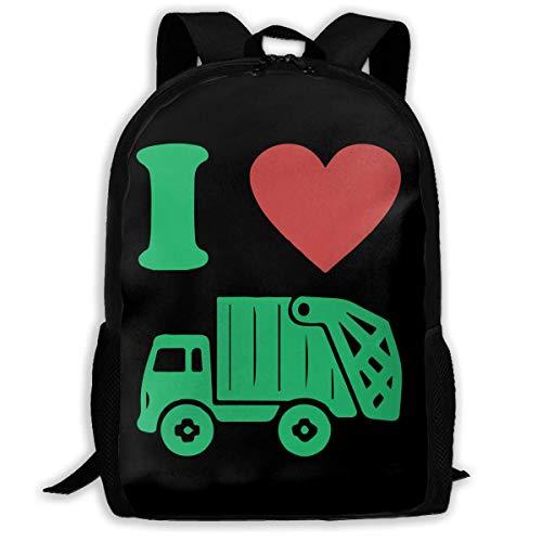 Mochilas Escolares I Heart Love Camión De Basura Bolso De Escuela Clásico Mochila para Viaje Unisex Mochilas Escolares Juveniles por Viaje Niños Niñas Material Escolar