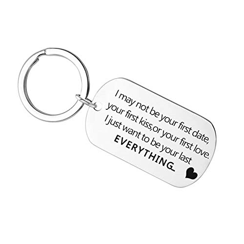 AueDsa Llavero Acero Inoxidable Llaveros para Mujer Placa Militar Grabado I May be Not Your First Date.Everything Plata Llavero Mujer