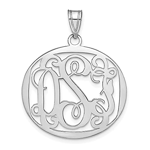 Jewelry-Sterling Silver/Rhodium-plated Polished Large Circle Monogram Pendant