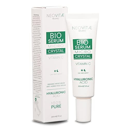 Neovitae - Suero Facial Bio 100% Puro Ácido Hialurónico con Vitamina C - Orgánico, Alta Concentración - Crema antiarrugas de efecto inmediato para Rostro, Cuello y Contorno de Ojos - 30ml