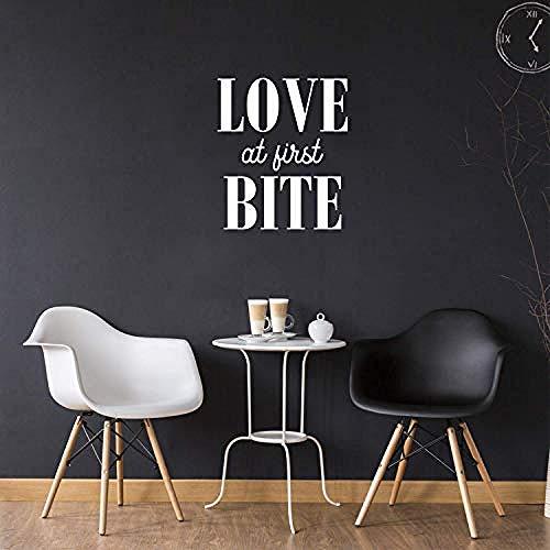 Liebe auf den ersten Biss - 20 x 17 - Trendy Funny Quote Aufkleber für Wohnküche Esszimmer Büro Küchenzeile Coffee Shop Dekor (Weiß)-Weiß