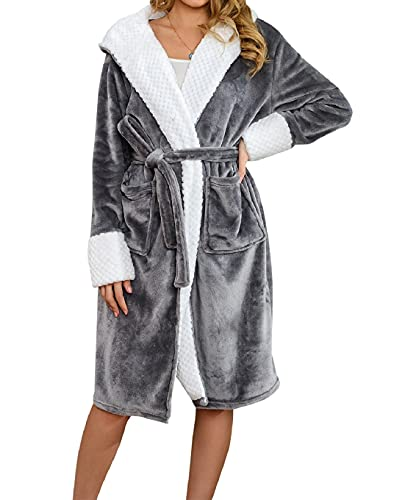 Yuson Girl Albornoz de microfibra para hombre y mujer unisex con capucha, bata larga de algodón, pijama kimono sexy con cinturón para casa, spa, hotel gris Talla única