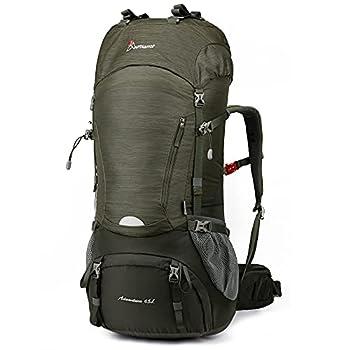 MOUNTAINTOP Sac à Dos de randonnée Trekking 55L/65L Sac au Dos pour Camping Voyage avec Coverture-Pluie (65L-Vert et vert armée, 65L)