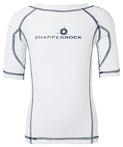 Snapper Rock Jungen & Mädchen UPF 50+ UV Schutz Kurzarm Bade Shirt Rashie für Kinder & Jugendliche, Weiß (Weiß/Dunkelblau), 9-10 Jahre, 140-146cm