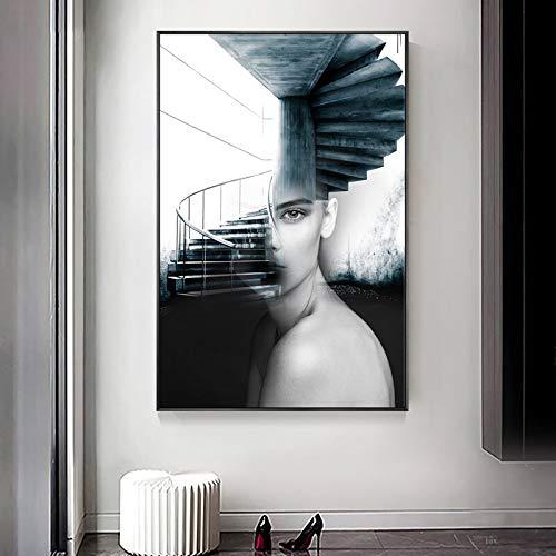 Geiqianjiumai Moderne modieuze kunst wenteltrap mooie meisjes muurschildering woonkamer Scandinavische stijl canvas schilderij print zonder lijstwerk
