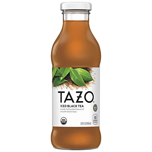 Tazo Organic Iced Tea, Black Tea, 13.8 Ounce Glass Bottles, 8 Pack