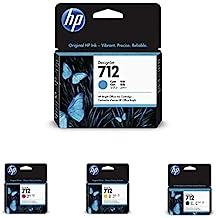 HP 712 Cyan 29-ml Genuine Ink Cartridge (3ED67A) with 712 Magenta 29-ml, 712 Yellow 29-ml & 712 Black 38-ml Genuine Ink Ca...