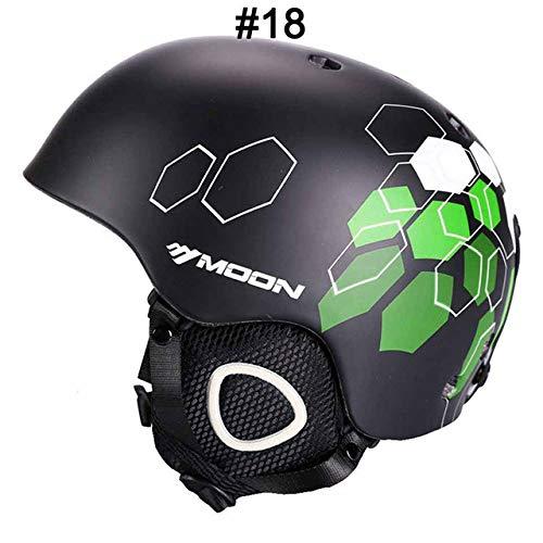 IAMZHL Skihelm Integrierter geformter Skihelm für Erwachsene und Kinder Schneehelm Skateboard Ski Snowboard Helm-1Black Hexagonal-0-L