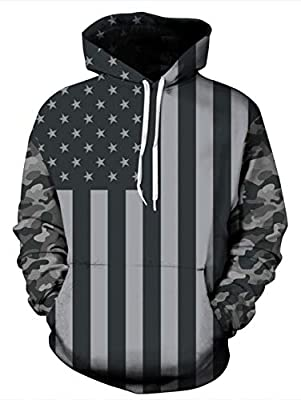 Goodstoworld 3D Cool Hoodies Teenage Boys Gifts Ideas Women Funny 4 of July Sweatshirts Streetwear Independence Day Pullover Coat Camouflage Long Sleeve Black Grey Male Shirts