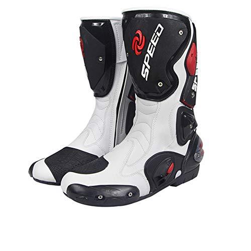 XHXMM Botas de Moto Hombre, Botas de Cuero Deportivas, Tobillo Transpirable Equipo de protección Calzado Antideslizante, para Conducir de Moto en Carretera,Blanco,43