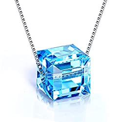 Sterling Silver Crystals With Blue Swarovski Cubic Pendant Necklace
