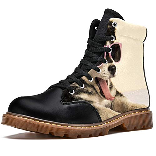 Anmarco Botas de invierno para mujer linda cachorro con gafas de sol con estampado de bostezón, alta parte superior de encaje clásico zapatos de lona para la escuela, color Multicolor, talla 39.5 EU