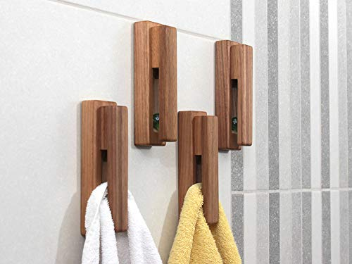 Wood Towel Hooks -Set of 2 Self Adhesive Vintage Towel Holder Wooden Wall Mounted Towel Racks for Bathroom and Kitchen Home Decor- Quick Drying, Reduce Bacterial Growth, Firmly Holds Towel(Walnut)