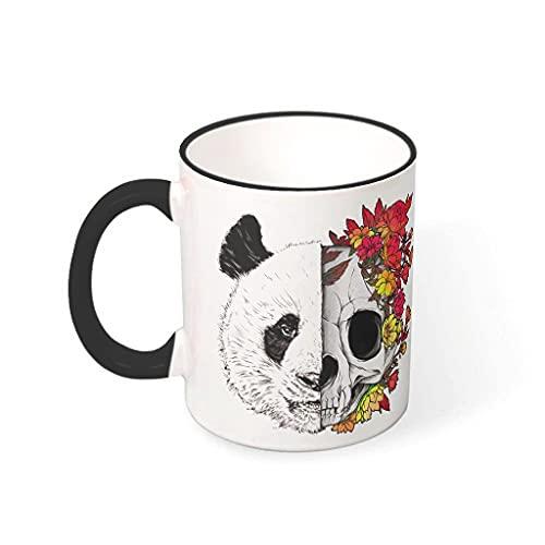 OwlOwlfan Taza de cerámica de color con diseño de calavera de panda, taza de café personalizada, con asa para café, bar, cumpleaños, festival, regalo para niños y niñas, color negro, 330 ml