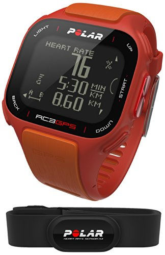 Polar RC3 GPS HR - Reloj con pulsómetro y GPS integrado, compatible con sensor de zancada, de cadencia y de velocidad para running y ciclismo (naranja/rojo)