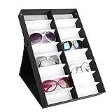 Ejoyous Caja de 16 Compartimentos para Gafas, Vitrina de Gafas de Sol con fun...