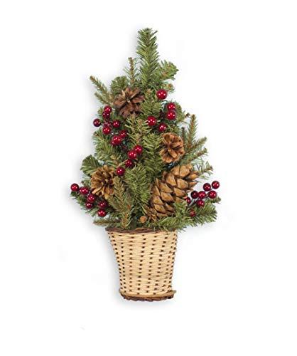 Holiday Essentials Árbol de Navidad de Pared piñas y Bayas Rojas – 18 Pulgadas de Altura – Incluye Maceta de Mimbre