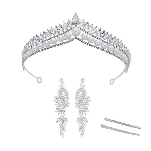 Pixnor Corona Nupcial Pendientes de Tiara Horquilla Conjunto Perla Cristal Rhinestone Boda Princesa Tocados Diadema para Novia Dama de Honor