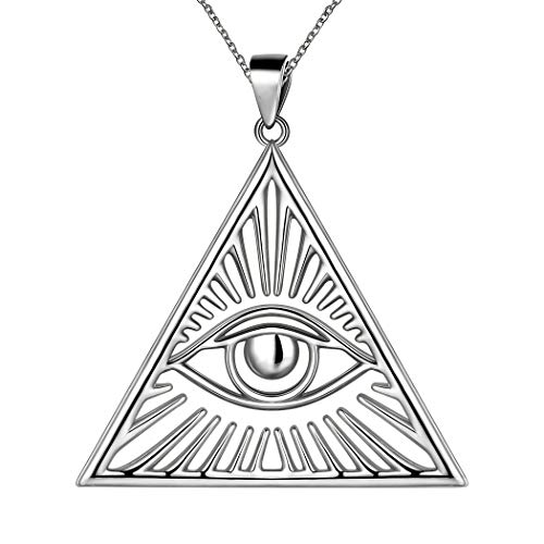 Besilver Eye of Providence Necklace for Men Women Triangle Necklace 925 Sterling Silver All Seeing Eye Necklace Ancient Mystic Symbol Third Eye Amulet Necklace Jewelry Gift for Mom Wife FP0158W