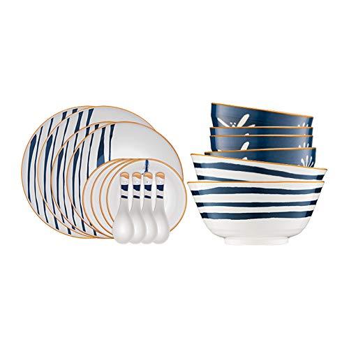 NYKK Conjunto de vajillas de Cocina Elegante de 18 Piezas, Cuchara de Plato de Plato de Plato, Servicio para 6, microondas, Horno y lavavajillas, Resistente a los arañazos
