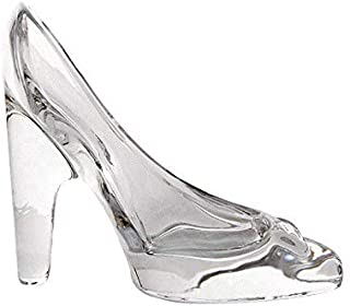 Cratone Glass Slipper Crystal Bowknot Shoes Ornament Wedding Decor Party Favor Candy Holder Clear Heels Figurines Birthday Gift Ceremony 17x14x11.5CM