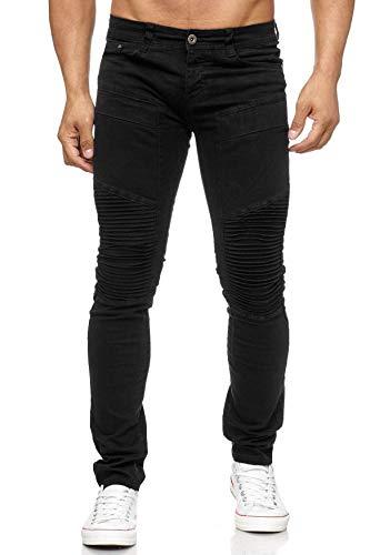 ArizonaShopping Herren Jeans Slim Fit Biker Knie Denim Hose Tapered Leg, Farben:Schwarz, Größe Jeans:W31