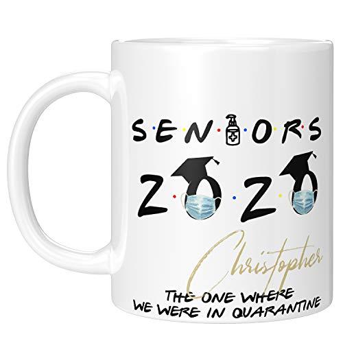 Personalized Graduation Mug w Name, 11 oz Seniors Coffee Mug - Custom Graduation Gifts for Her/Him - Quarantine Mug for Graduates - The One Where We Were Quarantined, Class of 2020