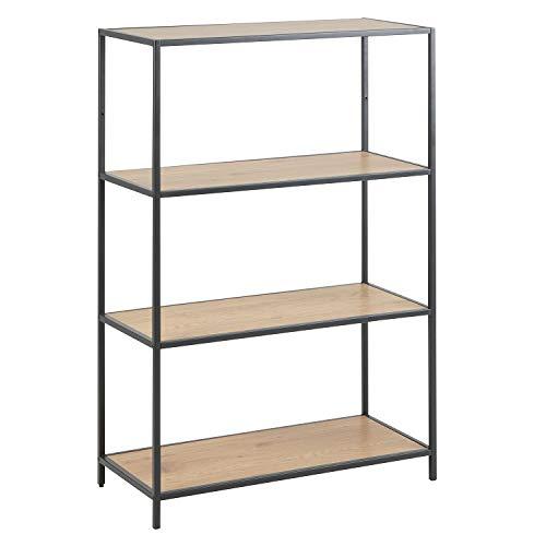 Industrieel boekenrek met mat zwart metalen frame, 114 cm hoog, boekenkast, boekenplank, 77 x 115 x 35 cm model HonkyTonk