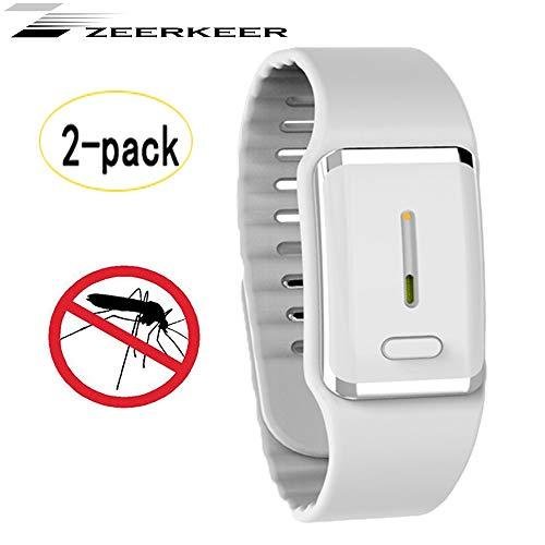 Zeerkeer Muggen Afstotend Armband Horloge, USB Elektronische Bionische Golf Anti Muggenarmband voor Kinderen Volwassenen Tuin Outdoor Camping Vissen Klimmen - 2 Pack Kleur: wit