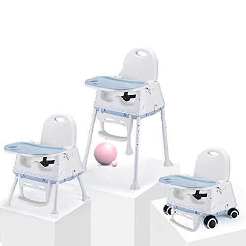 Trona Portátil Multifuncional 3 en 1 Asiento Elevador Para Niños Silla de Alimentación Para Bebés con Bandeja (Azul)