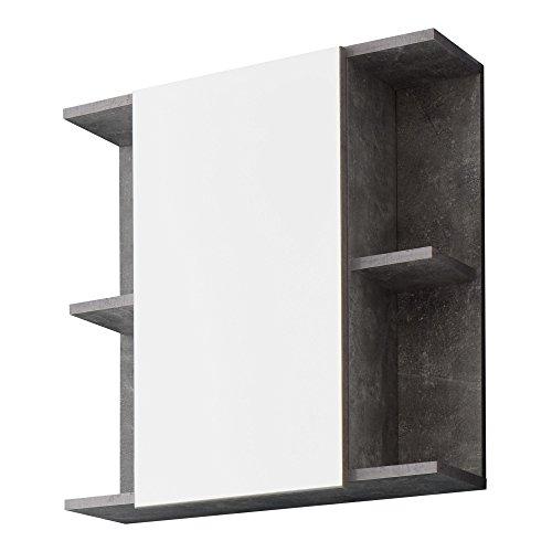 trendteam smart living badkamer hoge kast kast Nano Spiegelkast. 60 x 62 x 20 cm Beton Stone melamine.