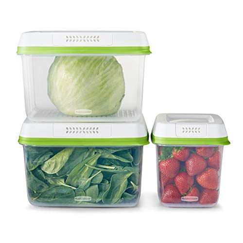 Rubbermaid 2114737 FreshWorks Produce Saver, Medium and Large Storage Containers, 6-Piece Set, Clear